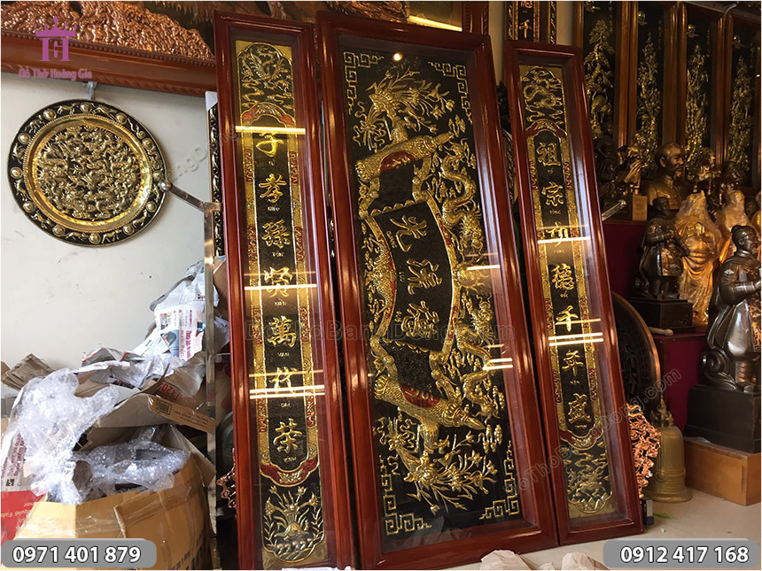 Bộ Hoành Phi Câu Đối 1m75 Đồng Vàng Khung Gỗ