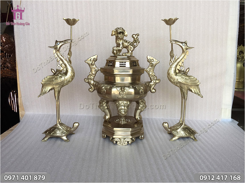 Bộ Tam Sự Bằng Đồng Vàng Đỉnh Hạc 45cm