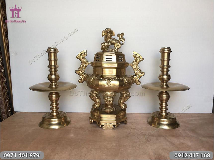 Bộ Tam Sự Đồng Vàng Đỉnh Bát Giác 55cm