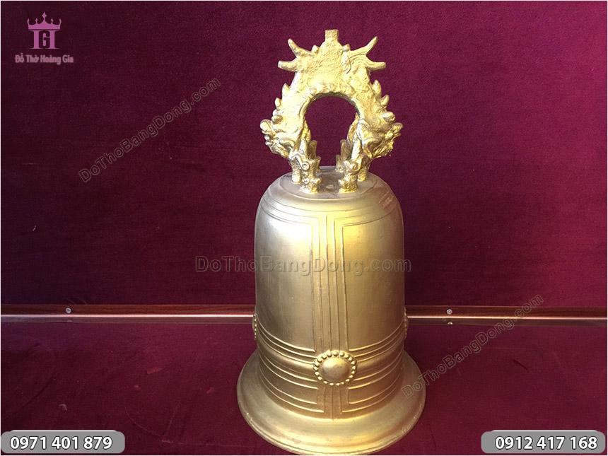 Chuông đồng vàng đúc thủ công cao 42cm