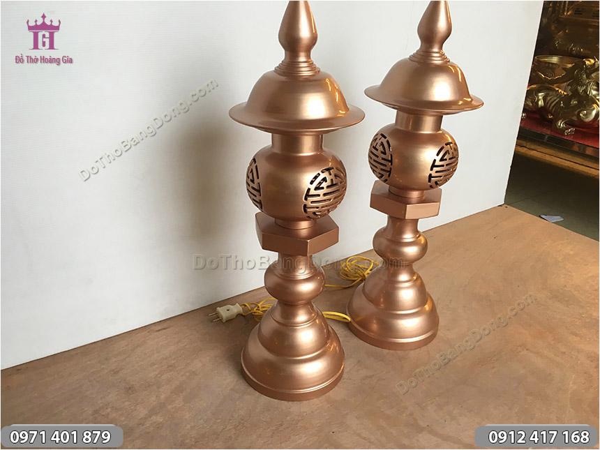 Đèn Đồng Thờ Cúng Cắm Điện Bằng Đồng Đỏ Mộc 60cm