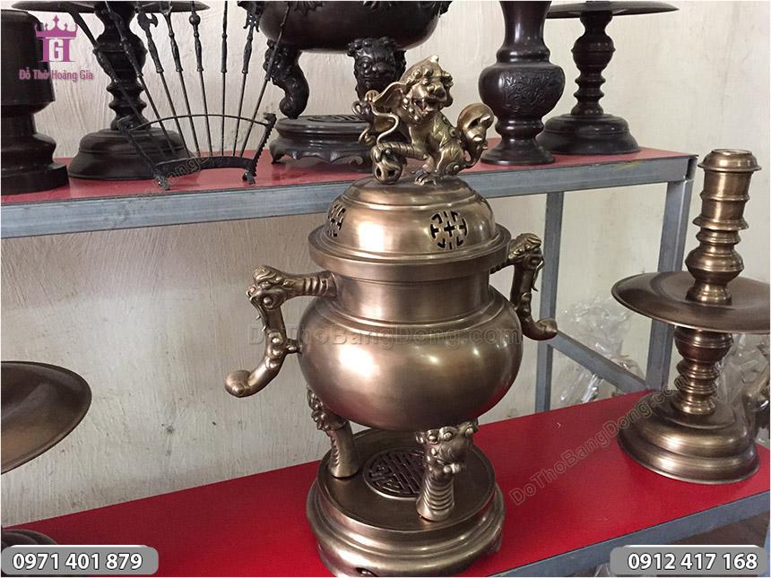 Đỉnh Đồng Tai Cui Hun Xanh Đúc Mộc cao 50cm