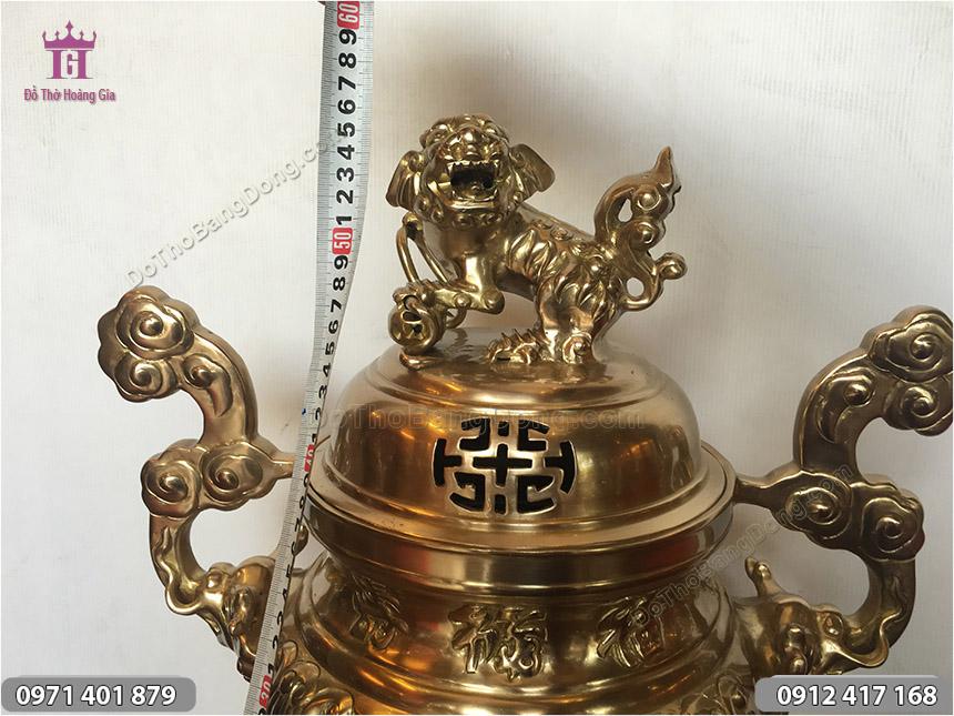 Đỉnh Thờ Hoa Sòi Đồng Vàng Phúc Lộc Thọ 55cm