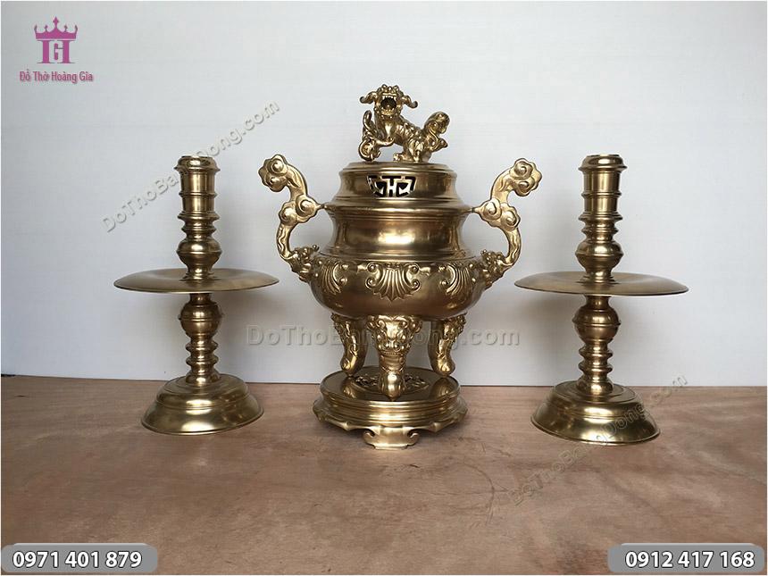 Đỉnh Thờ Tam Sự Hoa Sòi Đồng Vàng 60cm