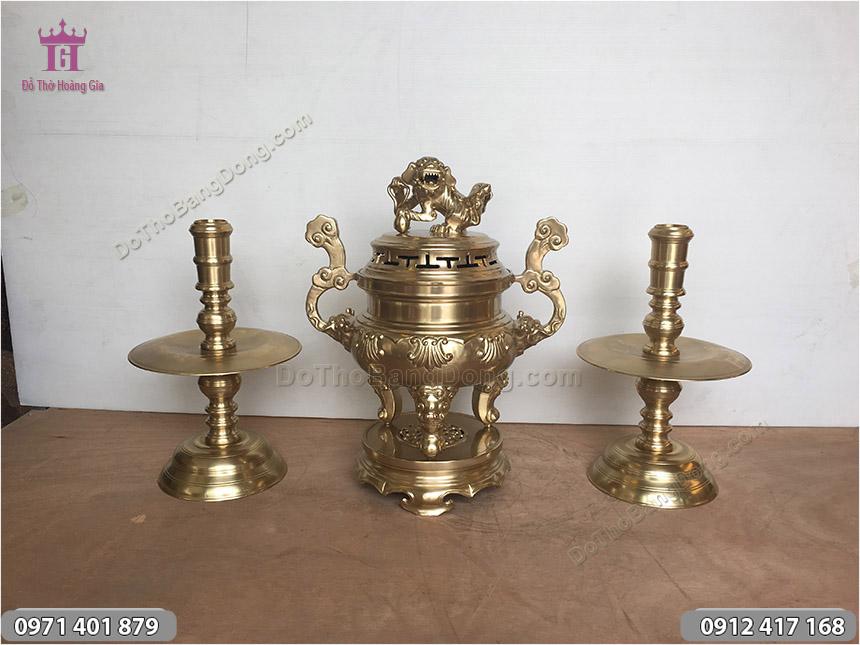 Đồ thờ tam sự đỉnh sòi 50cm đồng vàng