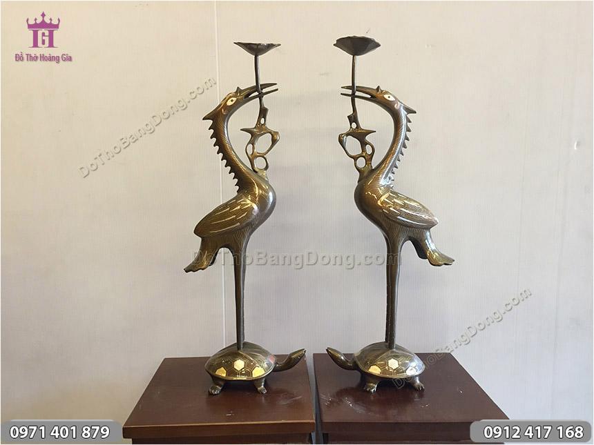 Đôi Hạc Thờ Cúng Khảm Tam Khí cao 50cm