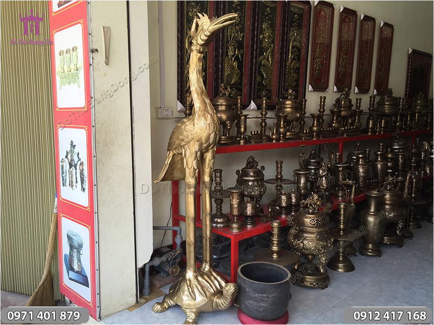 Hạc Đồng Thờ Cúng Bằng Đồng Vàng cao 1m8