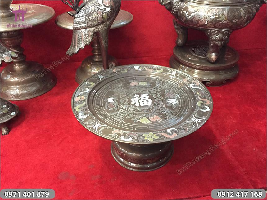 Mâm Bồng Bằng Đồng Khảm Ngũ Sắc 30cm