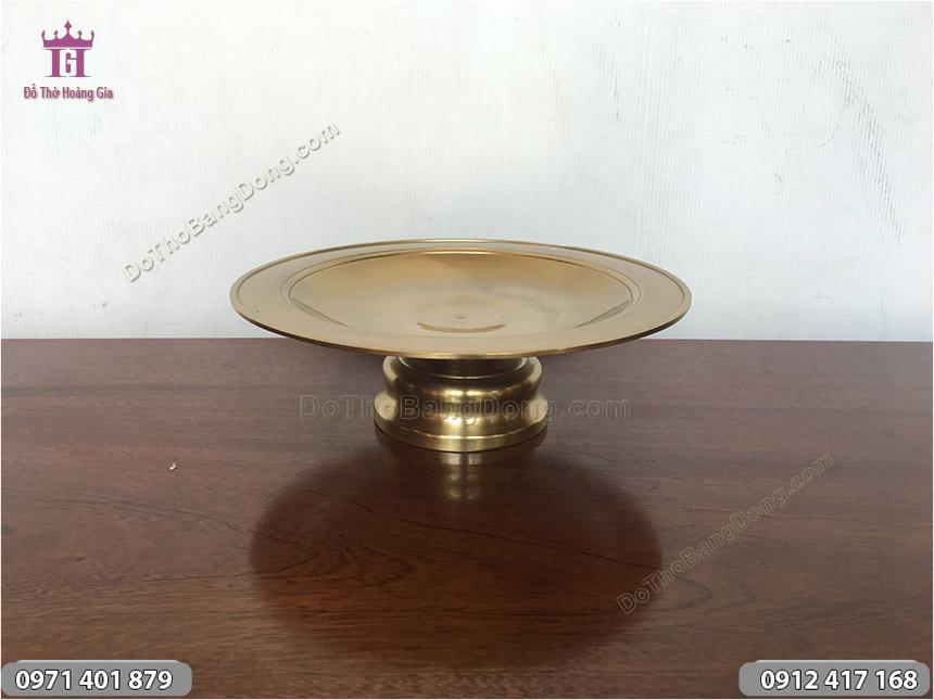 Mâm bồng bày hoa quả tiền vàng bằng đồng đúc trơn