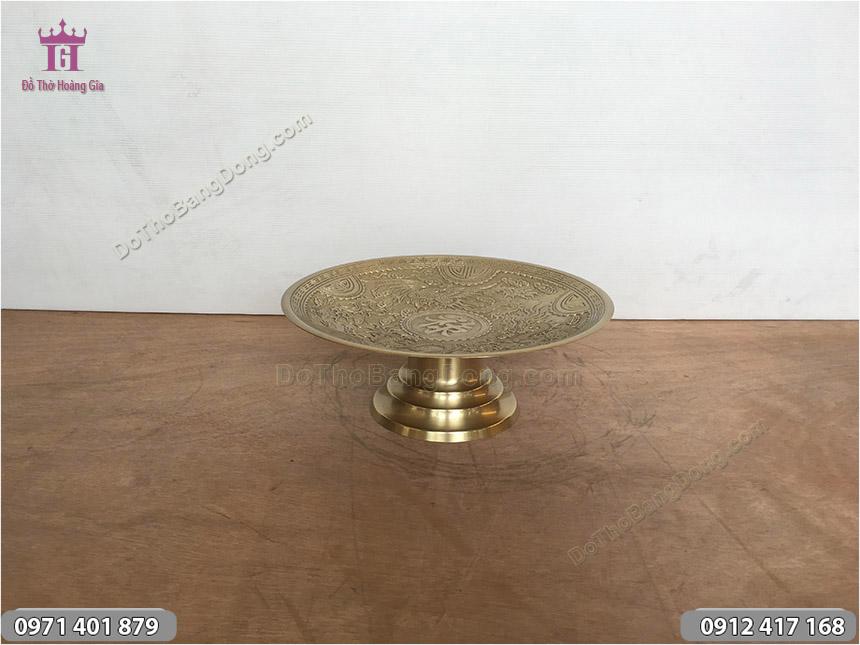 Mâm Bồng Chữ Lộc Bằng Đồng Vàng 32cm