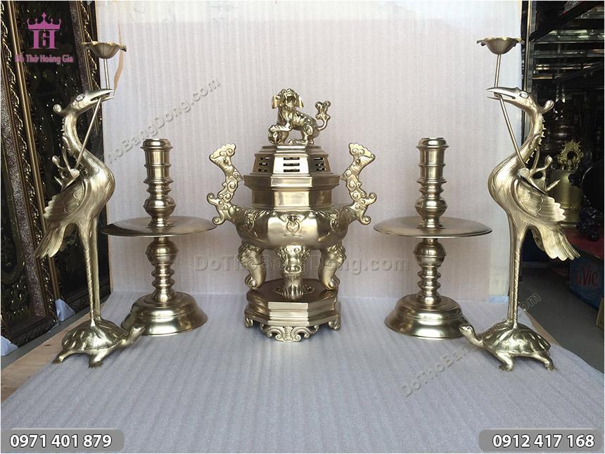 Ngũ Sự Bằng Đồng Vàng Đỉnh Bát Giác 55cm