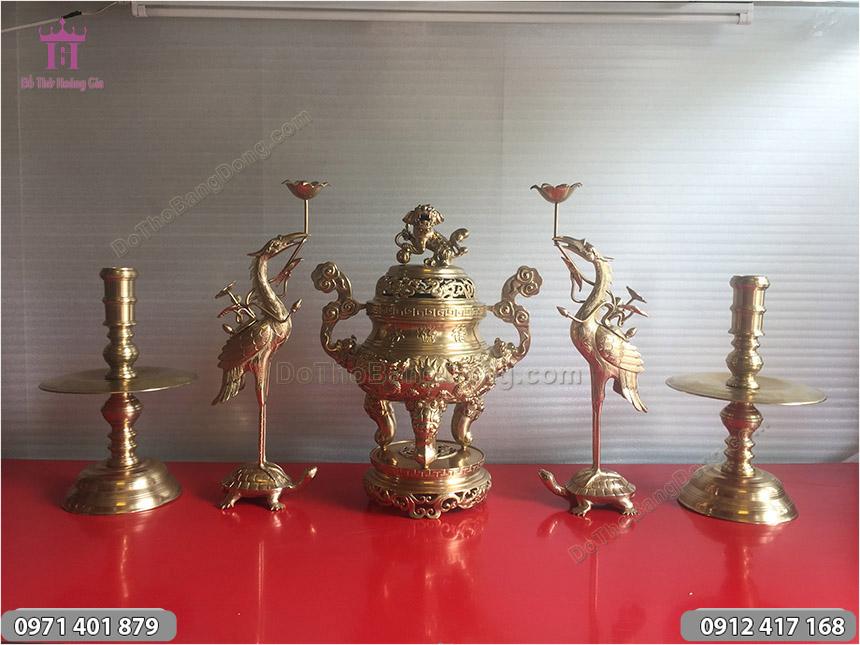 Ngũ Sự Rồng Phượng Bằng Đồng Vàng Cát Tút 50cm